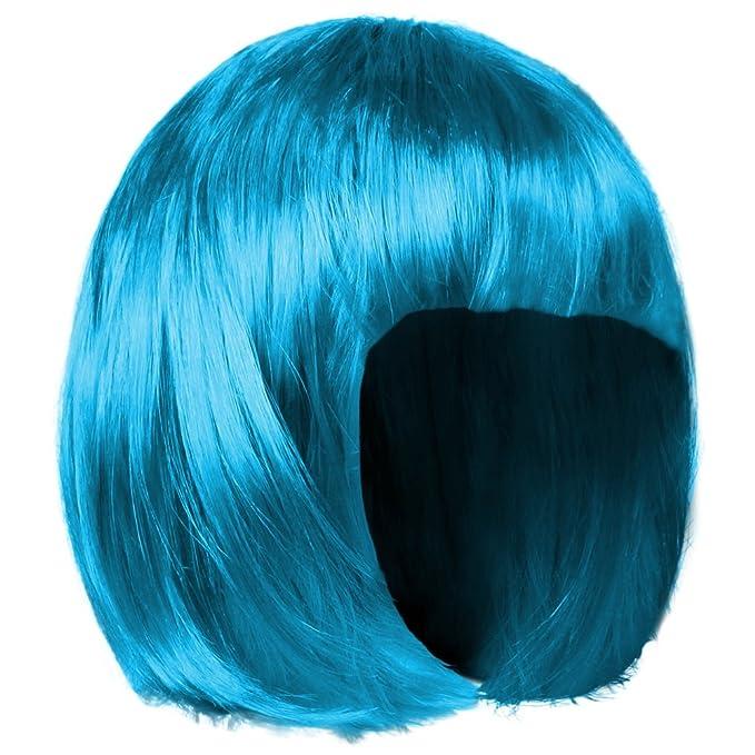 shenky - Peluca para Mujer - Ideal para Carnaval - Pelo Corto Estilo Bob - Azul