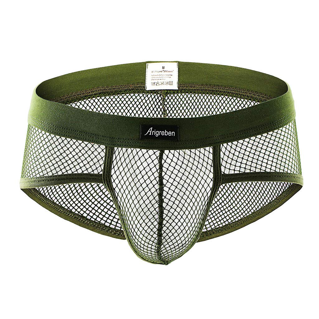 KIKOY Men's Sexy Underpants Underwear Lace Hollow outUnderwear Shorts Raised Underwear Green