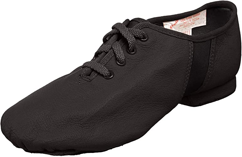 CAPEZIO EJ1 Wide Fit Black Split Sole Leather Jazz Shoe with Rubber Sole