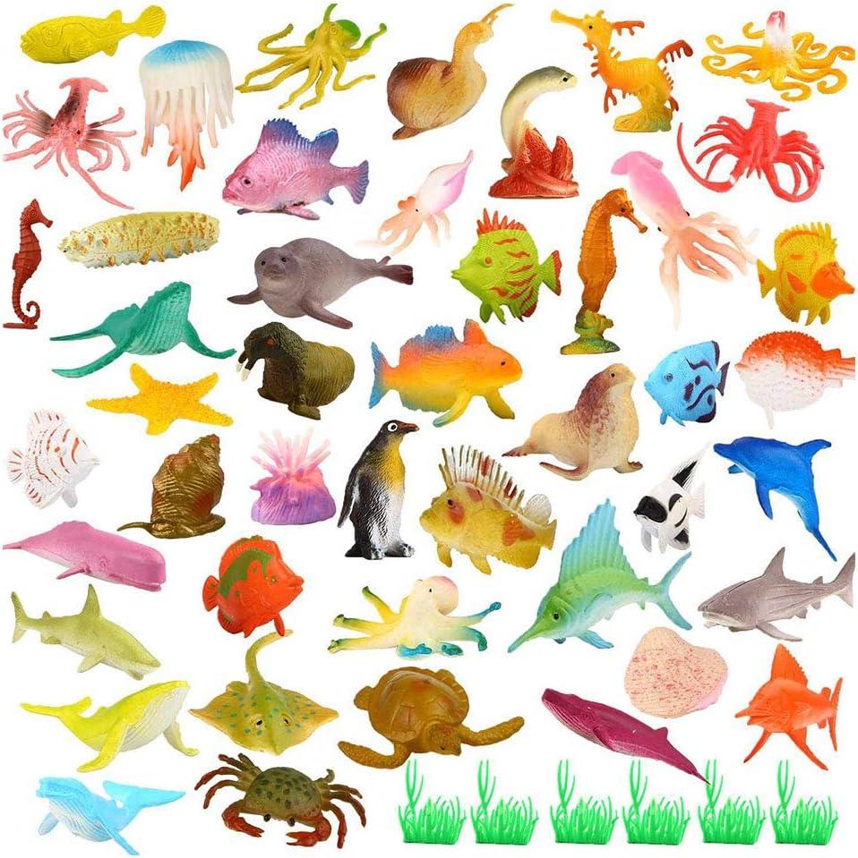52 Piezas Animales Marinos,Animales de Juguete,Mini Juguetes de Figuras de Insectos de Plástico,para Niños, Niñas, Niños Pequeños, Bolsas de Fiesta, Regalos, Premios, Juguetes