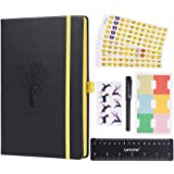 Bullet Journal - Lemome Dotted Numbered Pages Hardcover A5 Notebook with Pen Holder + Premium Thick Paper + Bonus Gifts (Black) Back to School