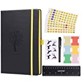 Bullet Journal - Lemome Dotted Numbered Pages Hardcover A5 Notebook with Pen Holder + Premium Thick Paper + Bonus Gifts (Black)