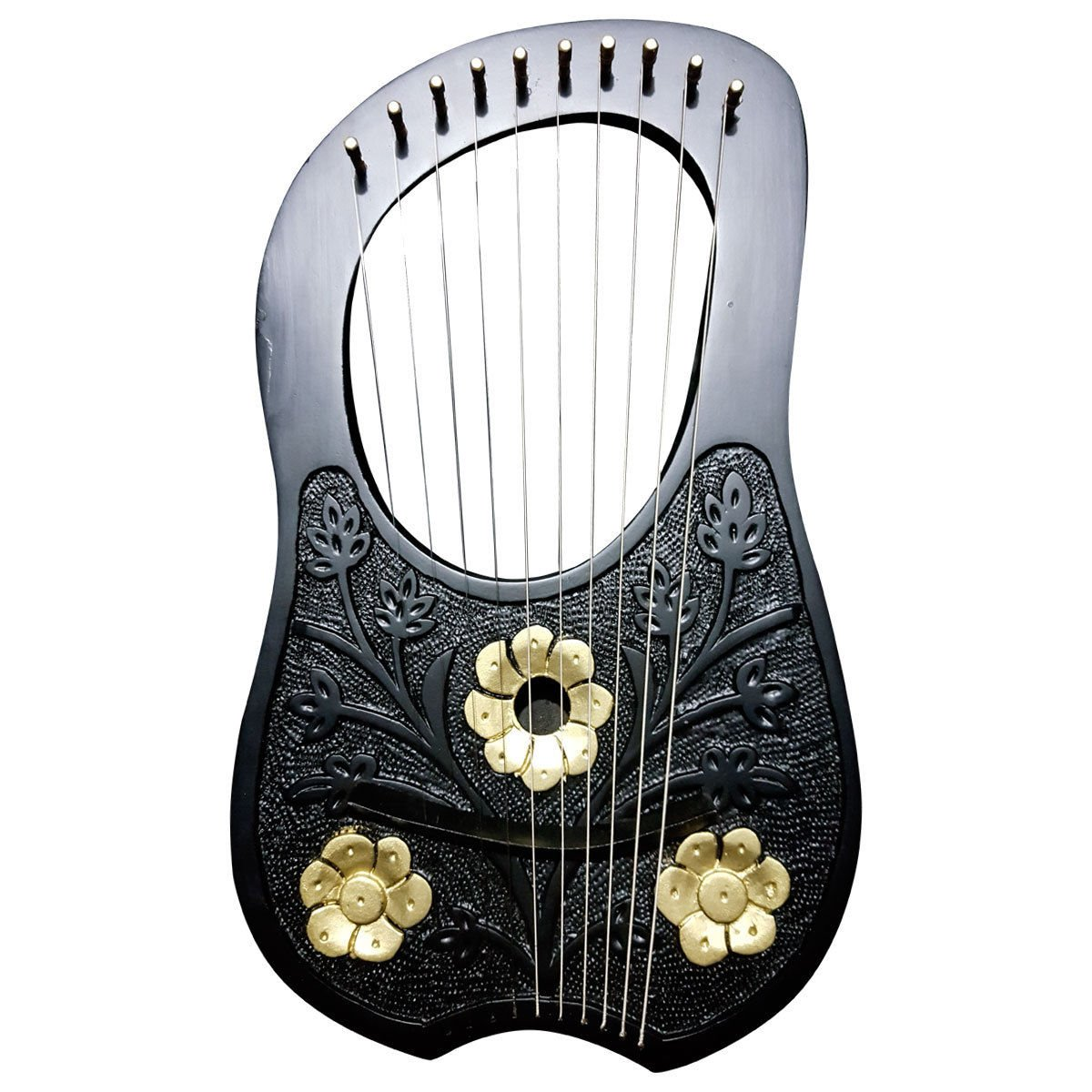 New Engraved Lyre Harp Rosewood 10 Metal Strings Free Carrying Case and Key/Lyra Harps,Harfe Aluma Craft