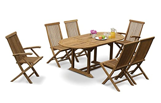 6 seater teak garden dining set extending garden table and folding chairs set jati - Garden Furniture 6 Seater