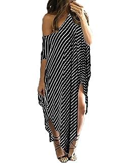 c0f1d03aec3 Kidsform Women Maxi Dress Striped Long Dresses Casual Loose Kaftan  Oversized Round Neck Sundress