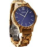 JORD Wooden Wrist Watches for Men or Women - Frankie Minimalist Series / Wood Watch Band / Wood Bezel / Analog Quartz Movement - Includes Wood Watch Box (Zebrawood & Navy)