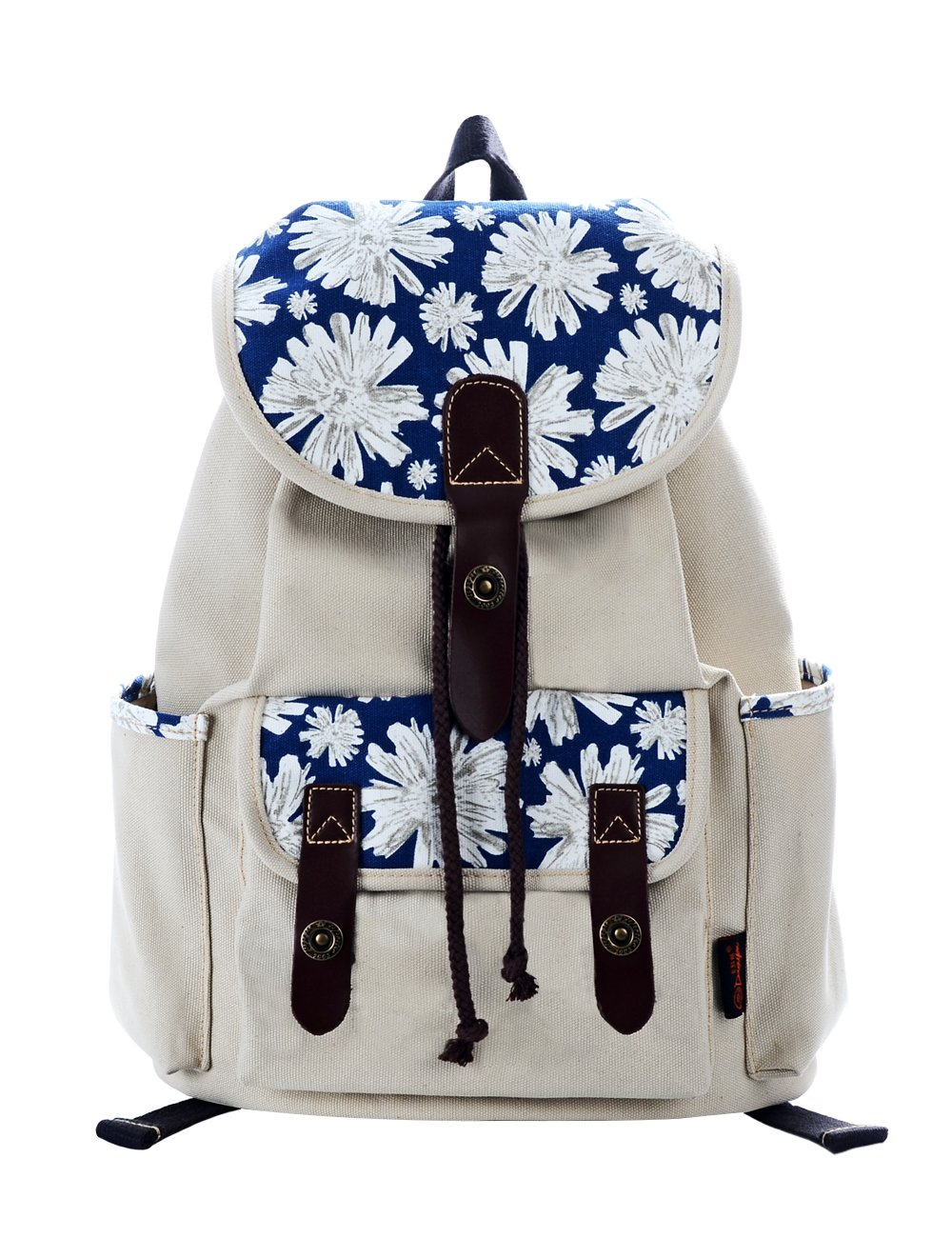 Douguyan Women's Canvas Backpack College Casual Rucksack Daypacks Travel Backpack Purse 137 Blue