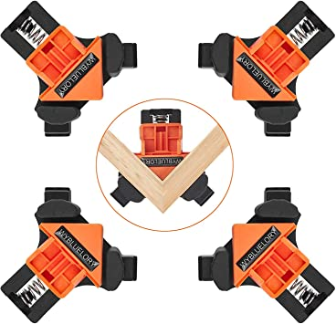 90/°Corner Right Angle Clamps Woodworking Corner Clip Fixer Construction Tools for Carpenter 4PCS