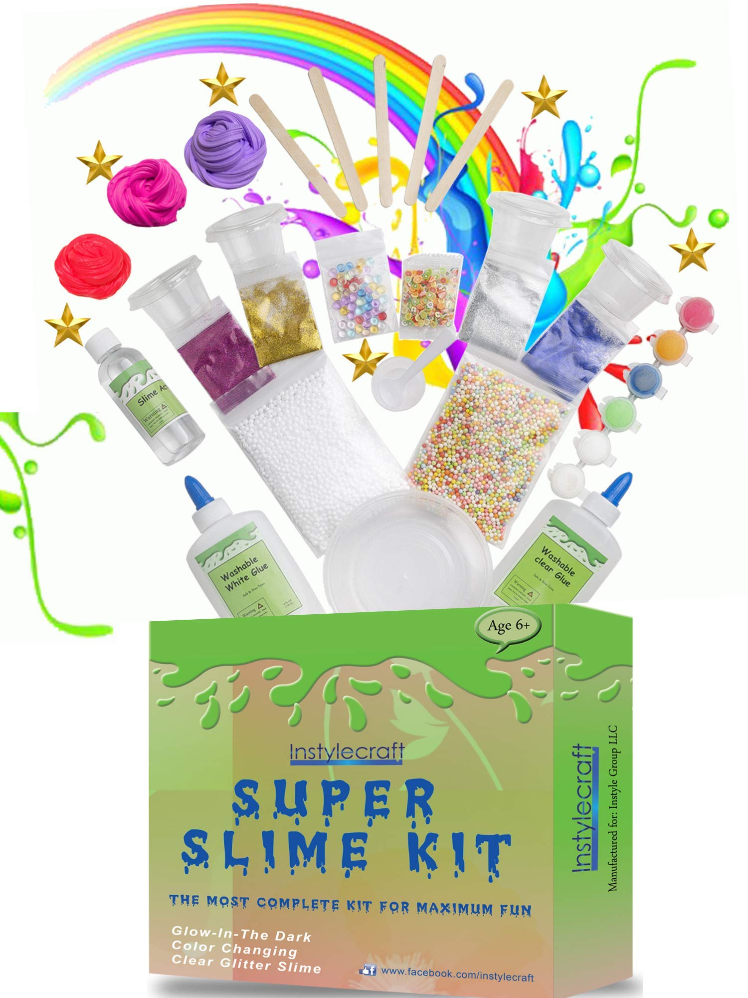 DIY Slime Kit -Learn how to make slime! Make Glow-In-The Dark, Clear, Neon and Glitter Slime - Perfect Gifting Option! Comes With Easy To Make Recipes! Super Slime Making Kit for Boys & Girls! by InStyleCraft (Image #5)