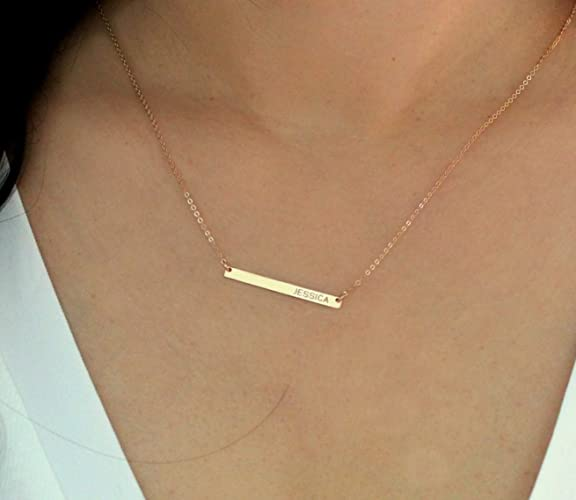 Amazoncom Skinny Gold Bar Necklace Long Bar Monogram Necklace