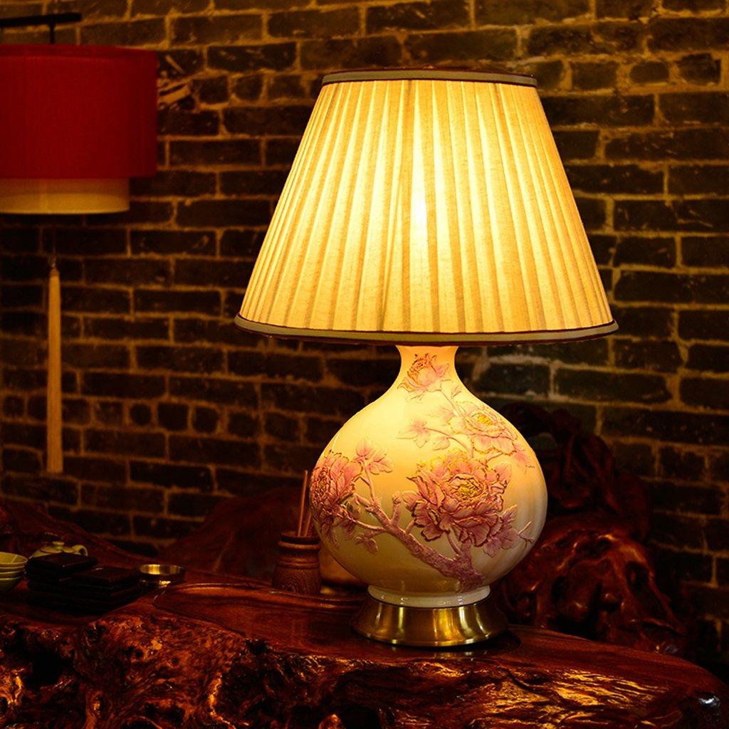 Hanlon E27-Schraubsockel, Lampe Schlafzimmer Schlafzimmer Nachttischlampe Europäische Wohnzimmerstudie Retro geprägtes Harz Kreative dekorative Lampe ( farbe : Pretty Pink-Dimmschalter )