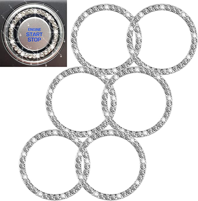 16 Pieces Crystal Rhinestone Car Ring Crystal Interior Ring Beautiful Ignition Bling Crystal Ring Shiny Auto Engine Button Decoration for Vehicle Ignition Button Bling Car Accessory