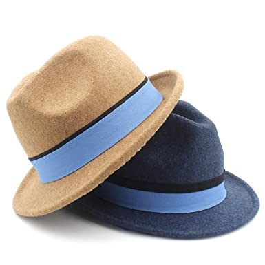 aa74a6214a8e0 Amazon.com  100% Wool Homburg Fedora Hat with Short Brim Trilby Felt Jazz  Hat with Blue Ribbon Women  Clothing