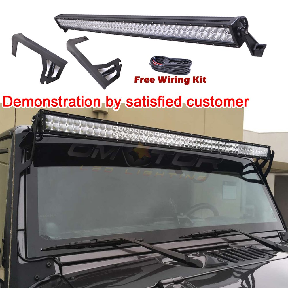 Omotor Light Bar 07 15 Jeep Wrangler Jk 4 Door Wire Harness On Hood Windshield Mounting Brackets 300w 30000lm 52inch Led Straight Suv Offroad Automotive