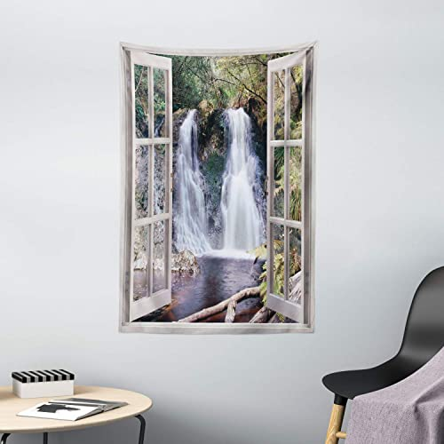Ambesonne Waterfall Tapestry, Little Waterfall Nestled in The National Park Panoramic Fresh Environment River, Wall Hanging for Bedroom Living Room Dorm Decor, 40 X 60 , Brown Green