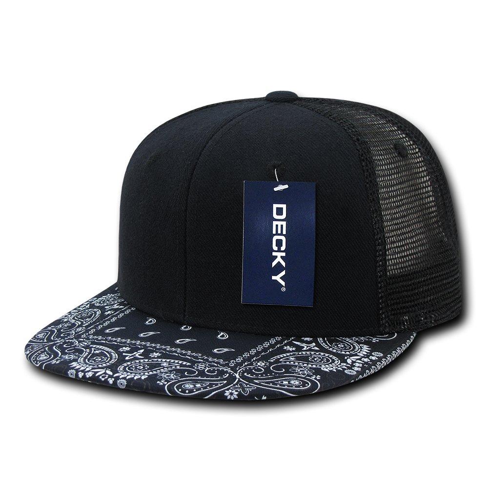 0401f25325d Paisley Bandana Print Flat Bill Trucker Mesh Snapback Cap - BLACK GREY at  Amazon Men s Clothing store