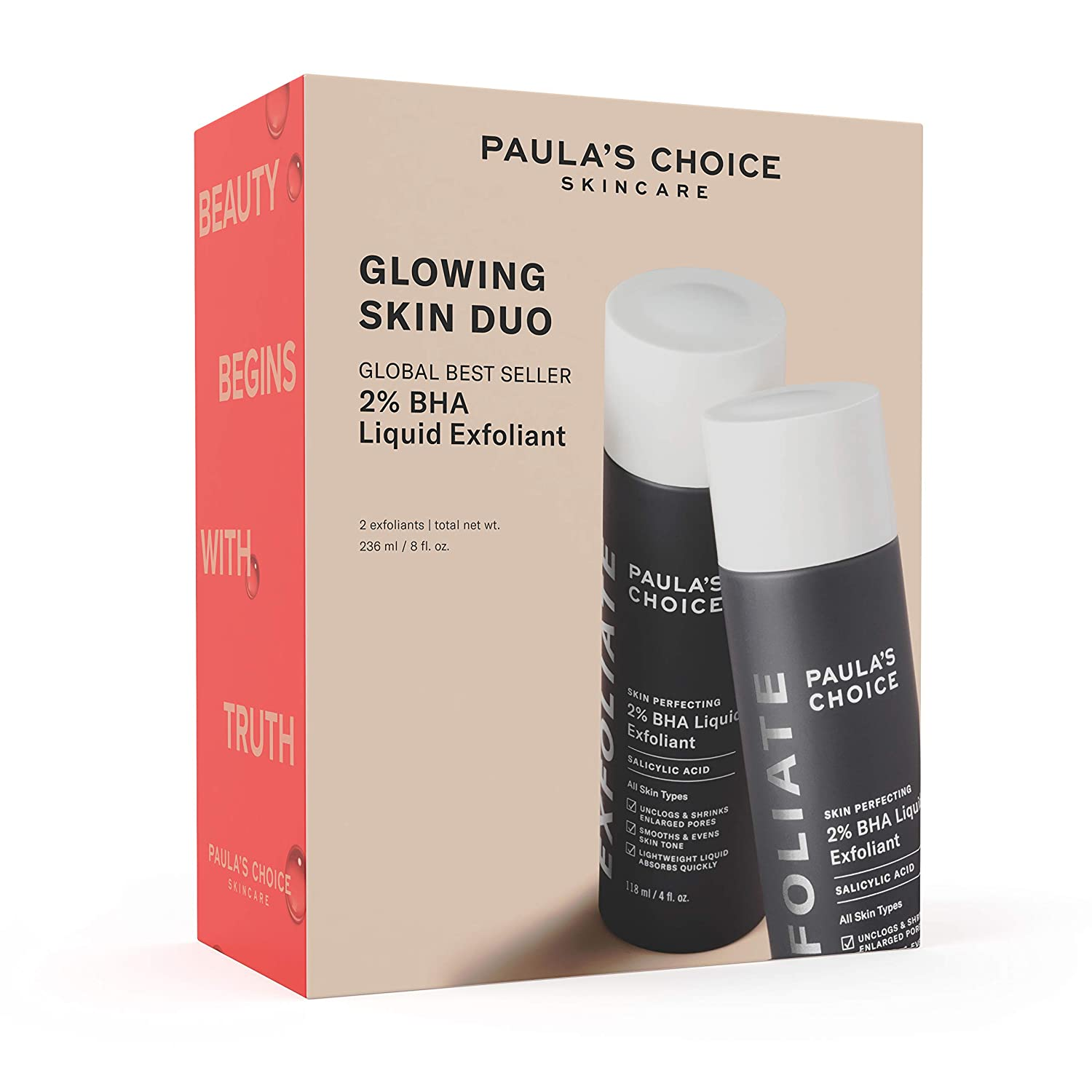 Paula's Choice Limited Edition Glowing Skin Duo - Skin Perfecting 2% BHA Liquid Salicylic Acid Facial Exfoliant Gift Set for Blackheads, Large Pores & Wrinkles - Kit Includes 2 Full Size Bottles