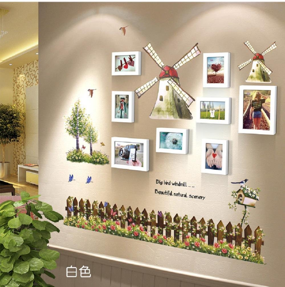 Korea wall sticker Eastern Mediterranean-style windmill 5 inch 7 inch photo frame wall bedroom solid wood quality photos and creative kids room photo wall , 10-YS