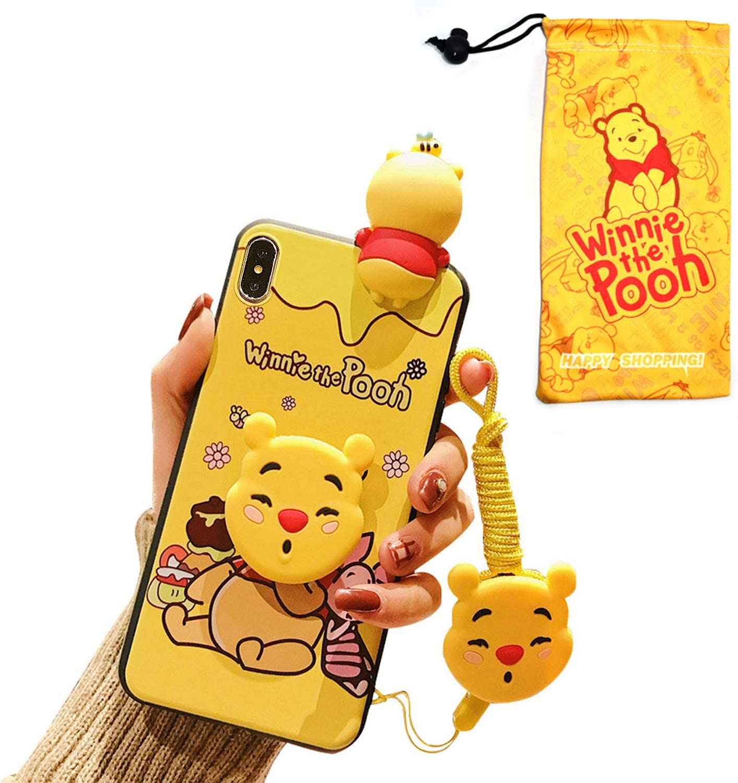 "Cute Cartoon iPhone XR Winnie Pooh Case for Kids Girls Women, Fun 3D Kawaii Animal Character Cover Case for Apple iPhone XR 6.1"" with Holder Lanyard Doll"