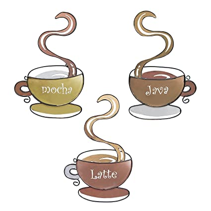 Amazon.com: Adorox Set of 3 Coffee Mug Hanging Wall Art Latte Java ...