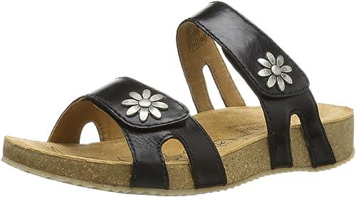 Josef Seibel Tonga 04 Black Womens Leather Slip-On Wedge Sandals