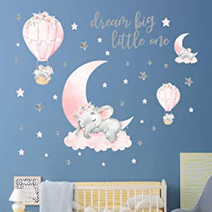 Yovkky Dream Big Little One Elephant Wall Decals, Peel and Stick Wall Sticker Pink Moon Hot Air Balloon Grey Stars Nursery Decor, Home Kitchen Room Decorations Boy Girl Kids Bedroom Art Party Supplies
