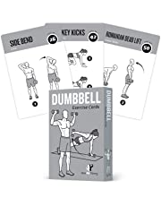 """Exercise Cards Dumbbell Home Gym Workouts Strength Training Building Muscle Total Body Fitness Guide Workout Routines Bodybuilding Personal Trainer Large Waterproof Plastic 3.5""""x5"""" Cards Burn Fat"""