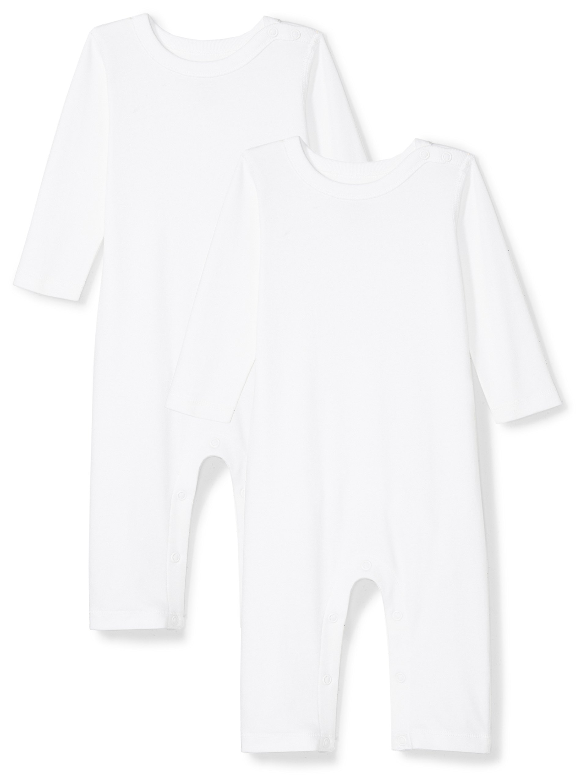 Moon and Back Baby Set of 2 Organic Long-Sleeve Snap-Shoulder Coveralls, White Cloud, 0-3 Months by Moon and Back