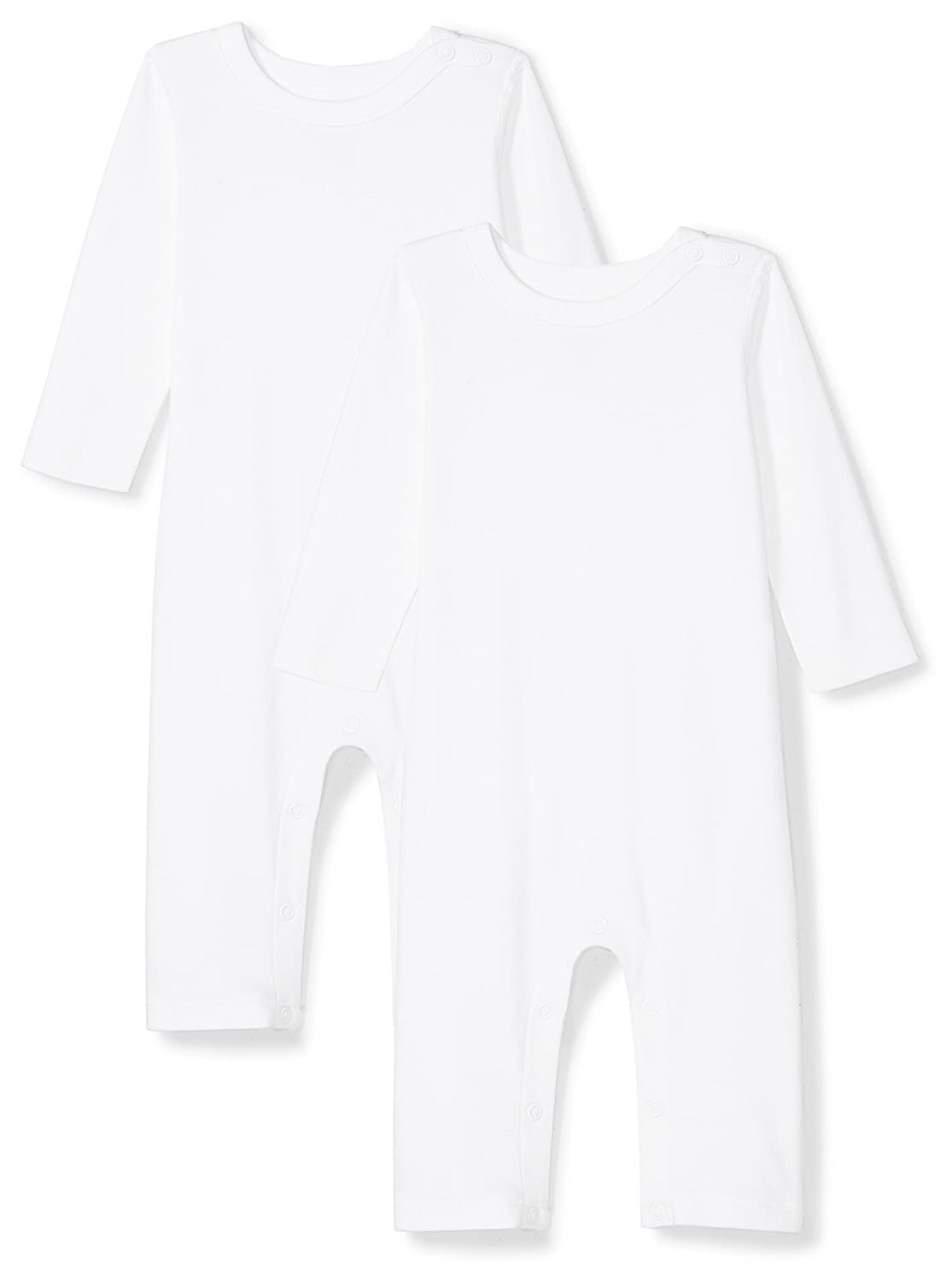 Moon and Back Baby Set of 2 Organic Long-Sleeve Snap-Shoulder Coveralls