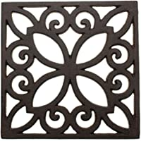 Comfify Decorative Cast Iron Trivet for Kitchen Or Dining Table   Square with Vintage Pattern - 6.5 x 6.5   with Rubber…