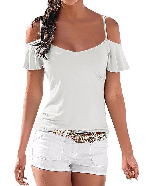 StyleDome Blusa Camiseta Casual Elegante Verano Playa Algodón Tirantes Mangas Cortas para Mujer Blanco EU 46