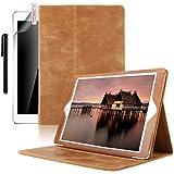 iPad 9.7 Leather Case, Boriyuan Luxury Folio Genuine Leather Case Flip Smart Cover for Apple New iPad 9.7 Inch 2017, Brown