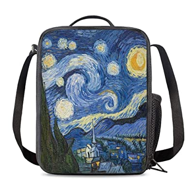 Vunko Starry Night Insulated Lunch Bag for School Work Office Picnic Van Gogh Tote Lunch Box Containers for Adults and Kids Compact Reusable Cooler Bag with Shoulder Strap: Kitchen & Dining