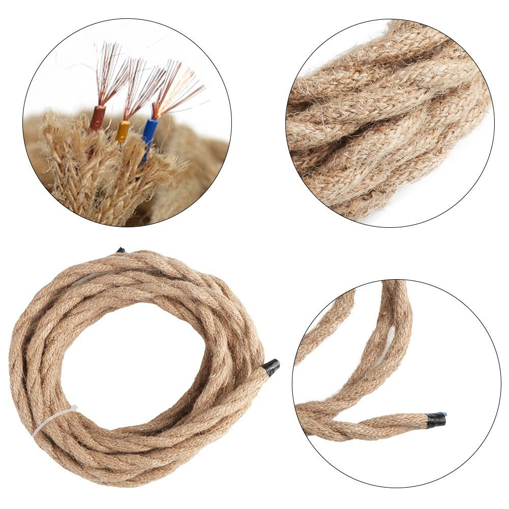 Rope Light Cord, 16.4ft Linen Covered 3-core Copper Wire 18/3 Round ...