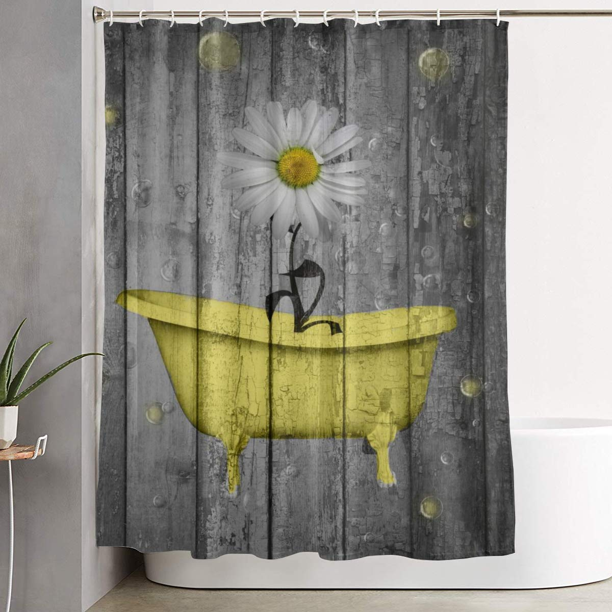 Amonee-YL Yellow Gray Daisy Flower Bubbles Rustic Farmhouse Polyester Fabric Shower Curtain Sets with 12 Hooks,Modern Bathroom Home Decor