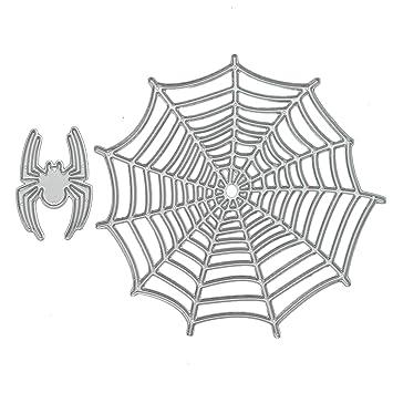 Gosear 2 Piezas Troqueles Scrapbooking Hojas - araña de Halloween y Tela de araña en Relieve Troqueles de Corte Plantillas Molde Conjunto para Bricolaje ...