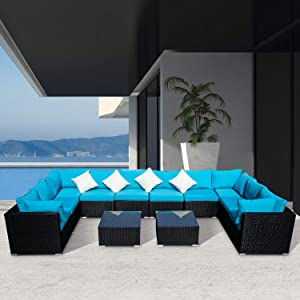 Wonlink 12 PCS Patio PE Rattan Wicker Sofa Sectional Furniture Set with Blue Cushion, 4 Pillows and Tea Table