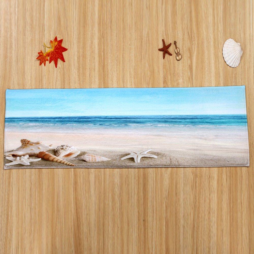 WSHINE 15.7'' 47.2'' Seashell Beach Floor Runner Rug Kitchen Mats Indoor Outdoor Doormat Window Room Mat, Blue