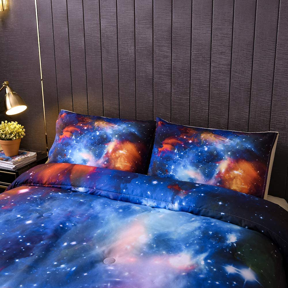 Outer Space Starry Sky Universe Cloud Polyester Microfiber Bedding Set for Boy Girl Teen Kid 1 Comforter + 1 Pillowcase Sincethen 3D Galaxy Comforter Set Twin Size 2Pcs Twin 68x88//Galaxy 001