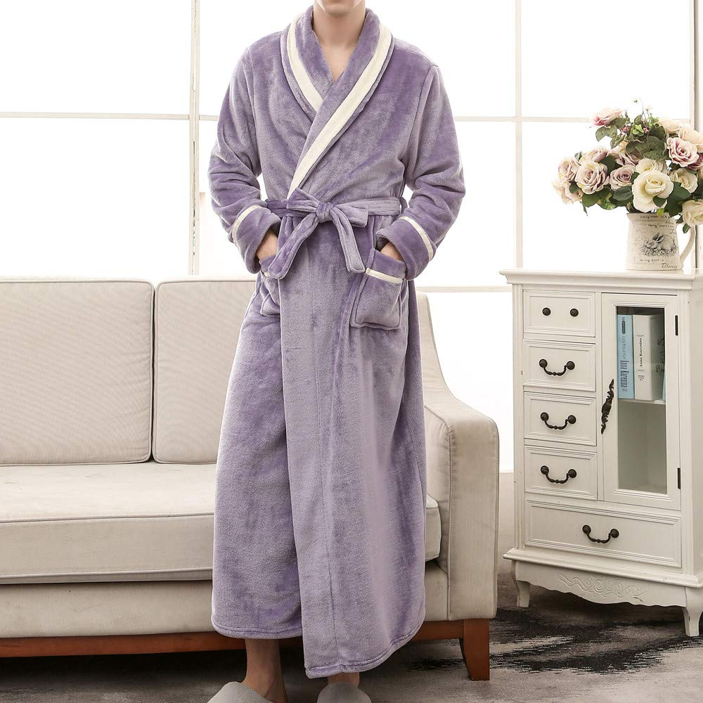 iLXHD Winter Unisex Luxurious Mens Womens Shawl Collar Fleece Bathrobe Spa Robe