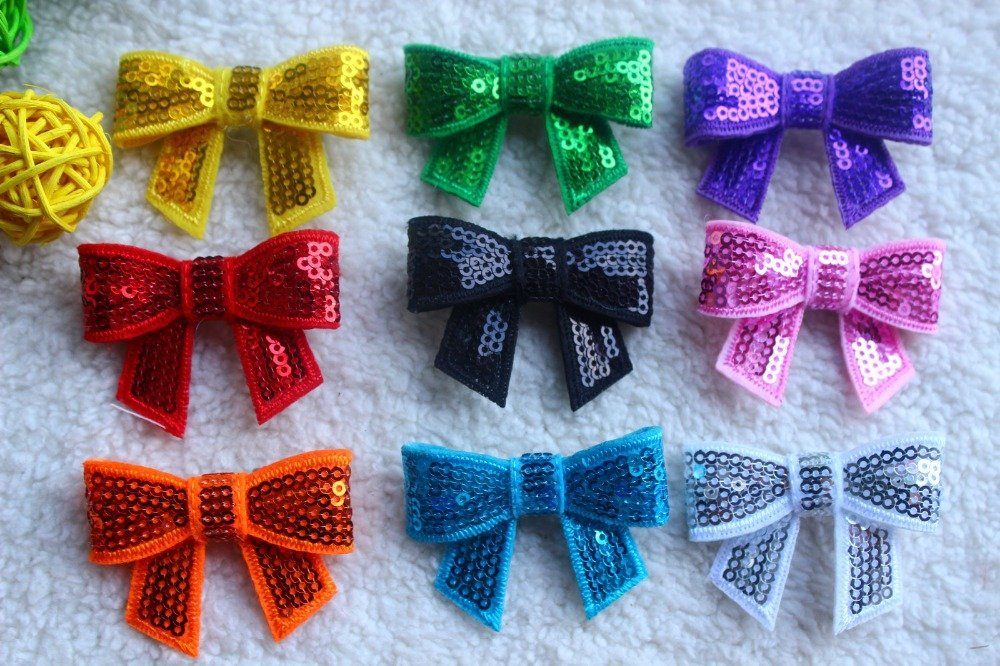 30pc lot Mix color Dog Topknot Bows pet Hair Clips Sequis Shiny Bowknot Clips Dog Hair Accessories pet Grooming Product