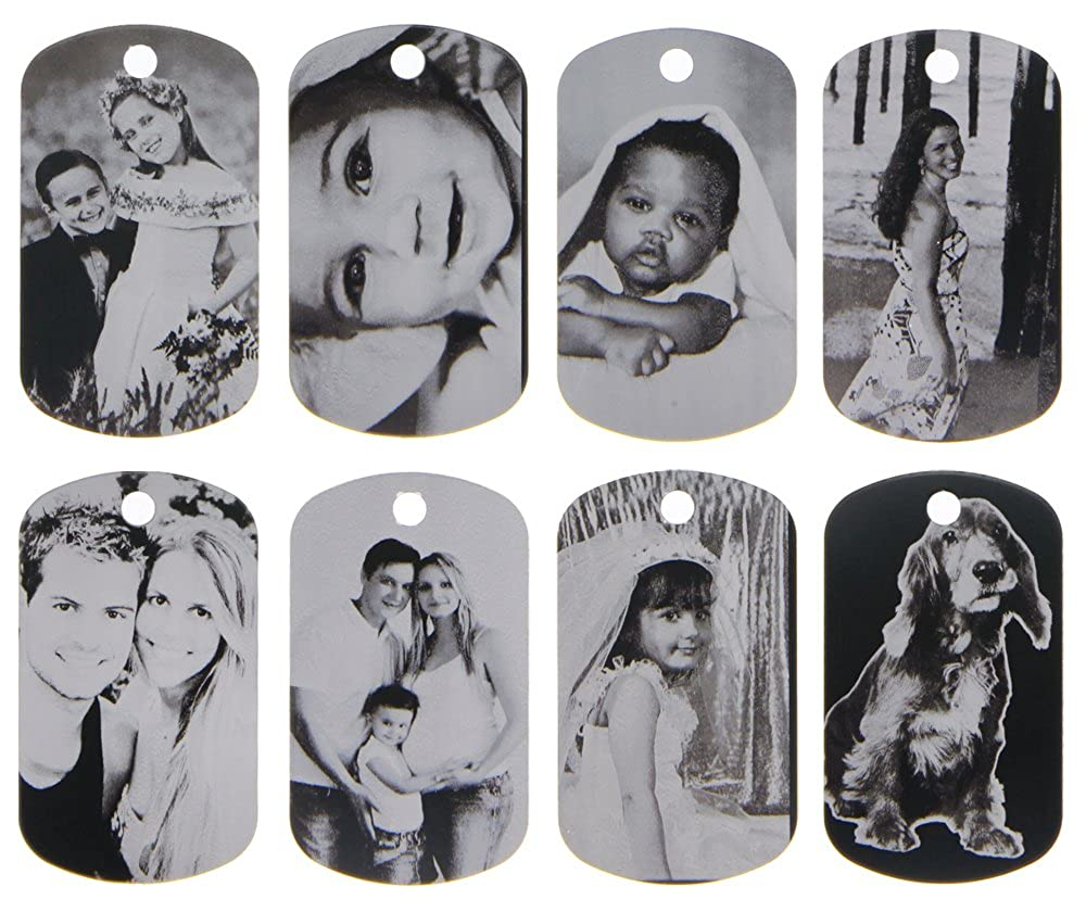 ElimL (TM) Aluminum Personalized Laser Photo Dog Tag Picture Pendant with 24 Inch Ball Chain LGU