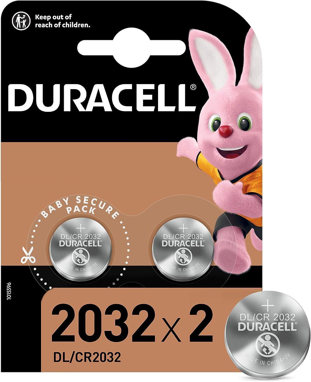 Duracell Pilas de botón de litio 2032 de 3 V, paquete de 2, con Tecnología Baby Secure, para uso en llaves con sensor magnético, básculas, elementos vestibles, dispositivos médicos DL2032/CR2032