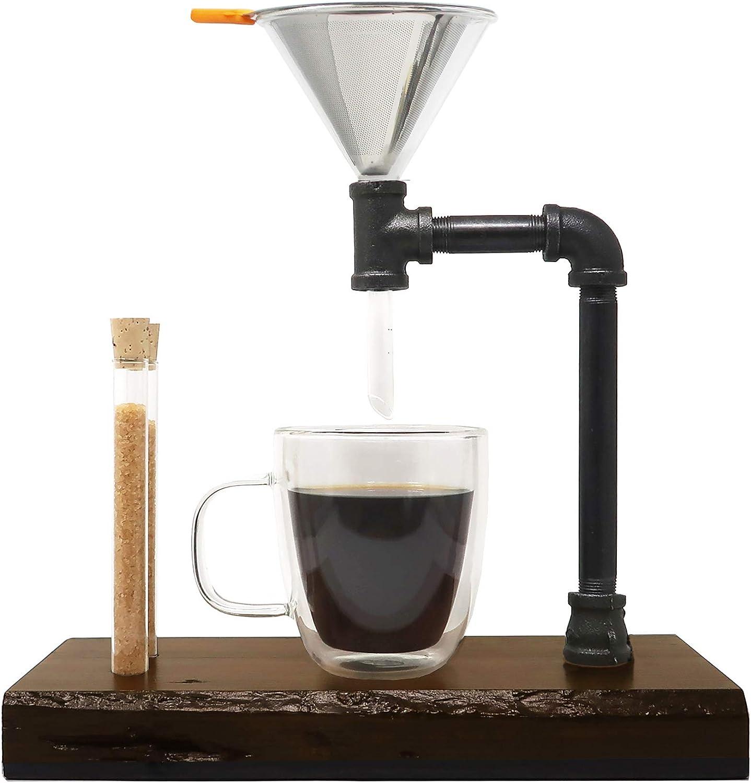 Kit de goteo de café – DIY de madera y acero para cafetera con embudo de cristal, filtros, viales y guía de preparación (14oz/400 ml): Amazon.es: Hogar