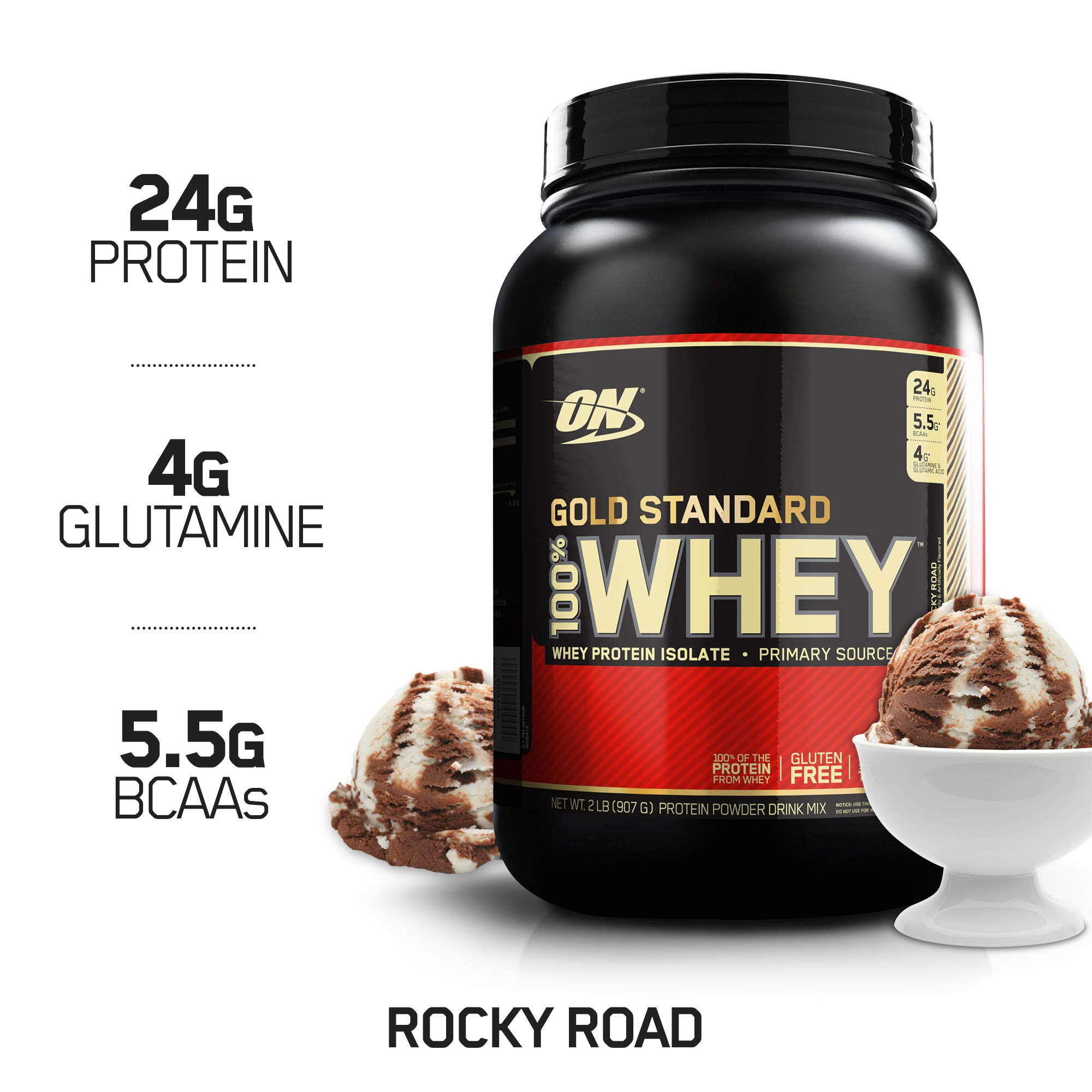 OPTIMUM NUTRITION GOLD STANDARD 100% Whey Protein Powder, Rocky Road, 2 Pound by Optimum Nutrition