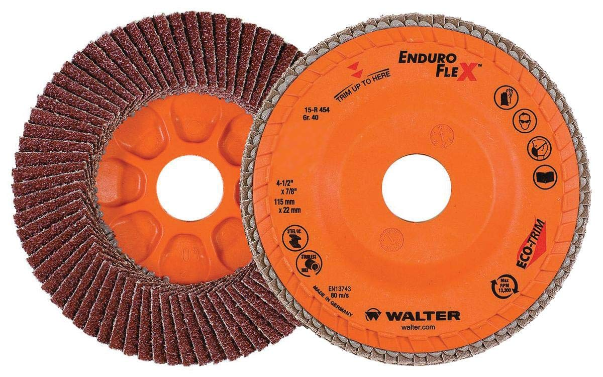 Walter Surface Technologies 15R454 ENDURO-FLEX Abrasive Flap Disc - [Pack of 10] 40 Grit, 4-1/2 in. Finishing Disc with ECO-TRIM Backing. Blending Discs