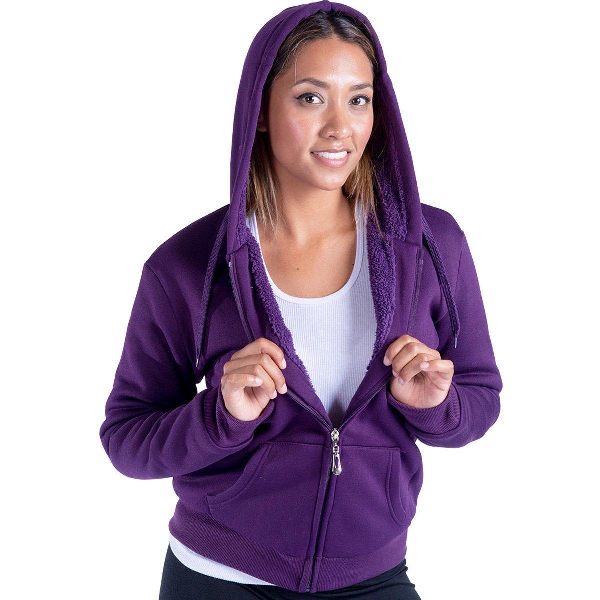 Leehanton Women's Plus Size Full Zip Soft Sherpa-Lined Fleece Hoodie Purple 1XL