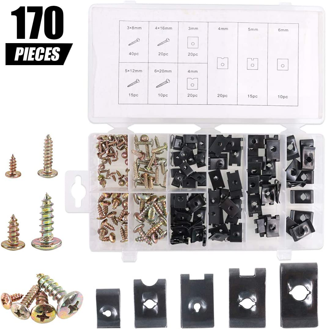 170Pcs Auto Car U-Clip U Nut and Screw Assortment Kit for Dash Door Panel Interior SAE