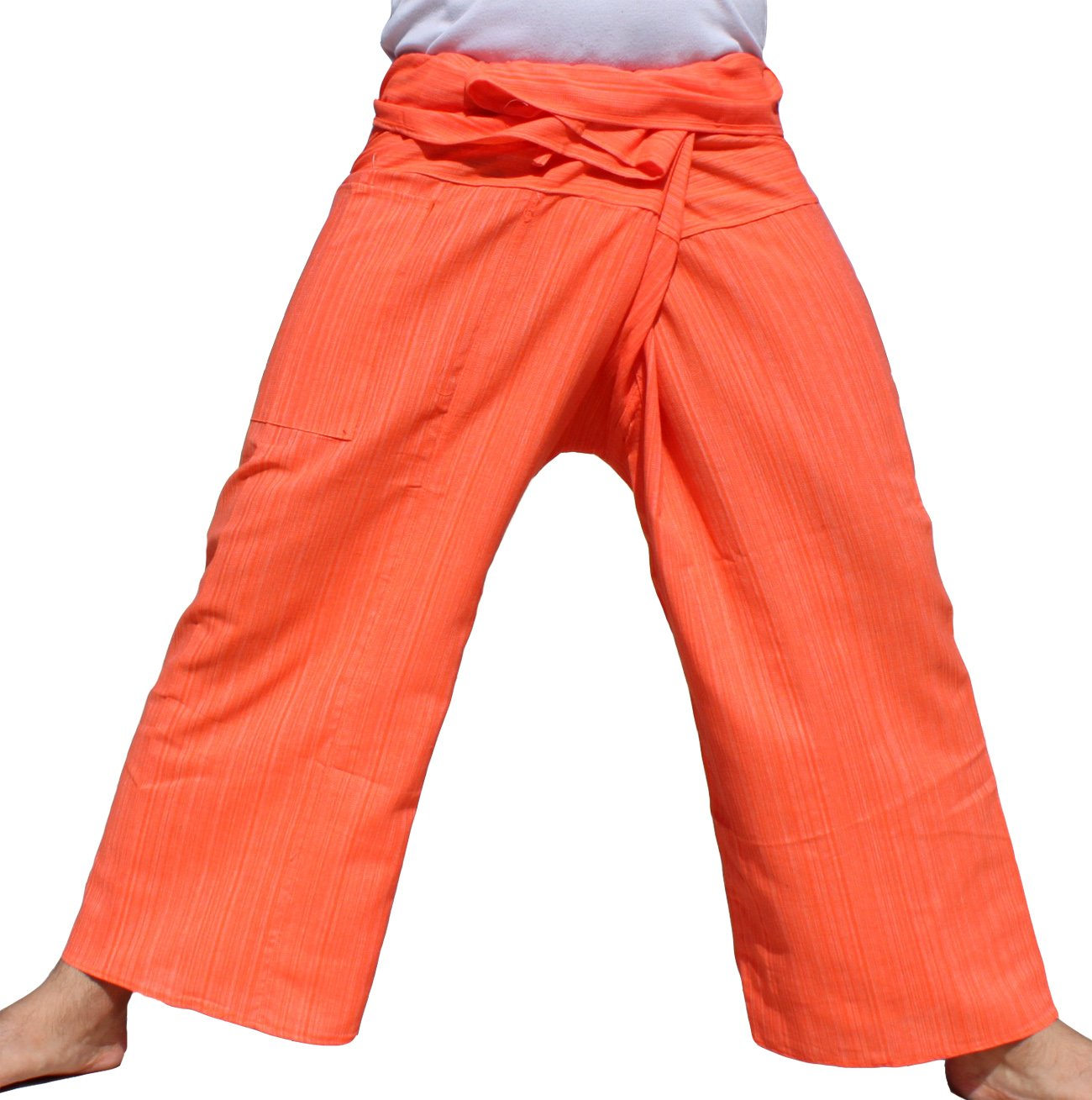 RaanPahMuang Light Striped Cotton Tall Thai Fisherman Wrap Pants Plus, XX-Large, Portland Orange by RaanPahMuang