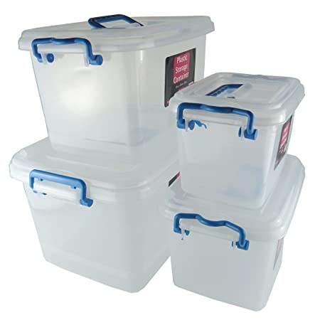 4 Piece Clear Plastic Storage Boxes Set In Assorted Sizes  sc 1 st  Amazon UK : storage box sizes  - Aquiesqueretaro.Com